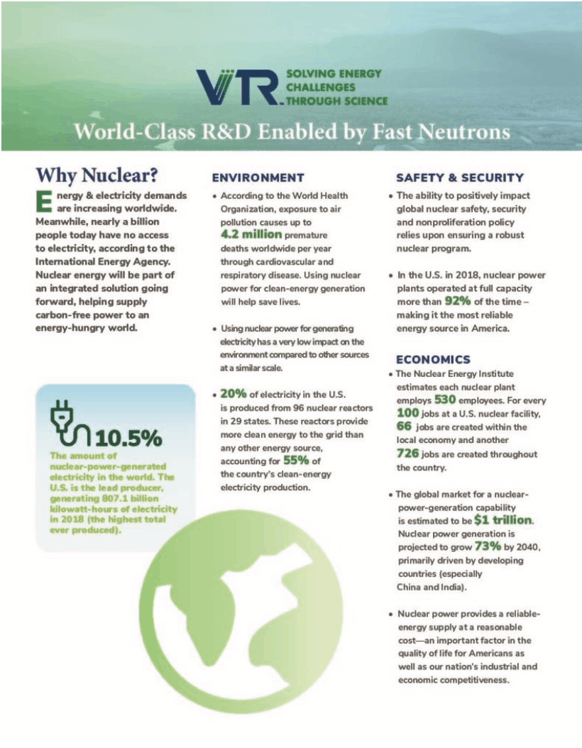 First Page of VTR Fact Sheet- World-Class R&D Enabled by Fast Neutrons