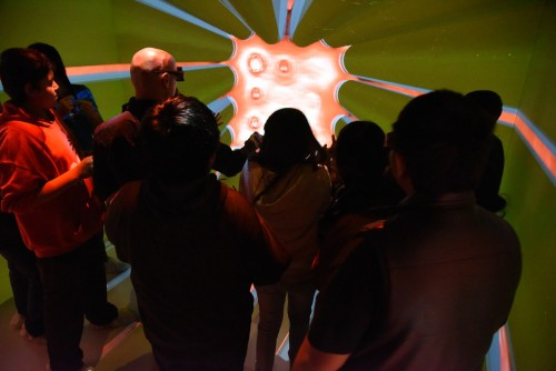 The CAVE allows students from the Shoshone-Bannock Middle School to be virtually immersed in a 3-D model of the core of INL's Advanced Test Reactor.